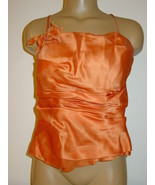 Watters & Watters Orange Rust 100% Silk Bustier Corset Zip Up Sissy Made... - $13.61