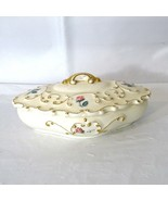 Vintage 1950s Ceramic Jewelry Trinket Dish Covered Floral Pink Roses Gol... - $22.76