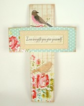 Love Is A Gift You Give Yourself Large Cross Floral Bird Shabby Sign Wall Decor - $29.65