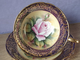 Antique 1940's Paragon hand painted pink rose blue gold china tea cup teacup - $395.01