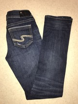 Womens Suki Silver Jeans Mid Straight Leg Fluid Denim Blue Size 25(24X30)  - $39.57