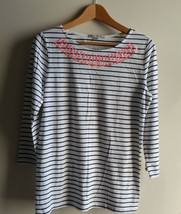 Gap Women's Embellished Striped Boat-neck White Top 3/4 Sleeve Cotton Size M NWT - $21.86