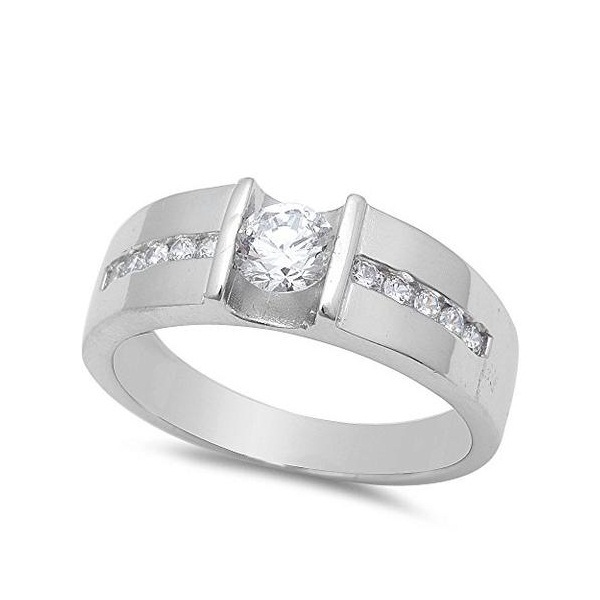 14k White Gold Plated 925 Silver Round Cut CZ Men's Wedding Band Ring Free Shipp