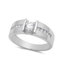 14k White Gold Plated 925 Silver Round Cut CZ Men's Wedding Band Ring Free Shipp - $69.91