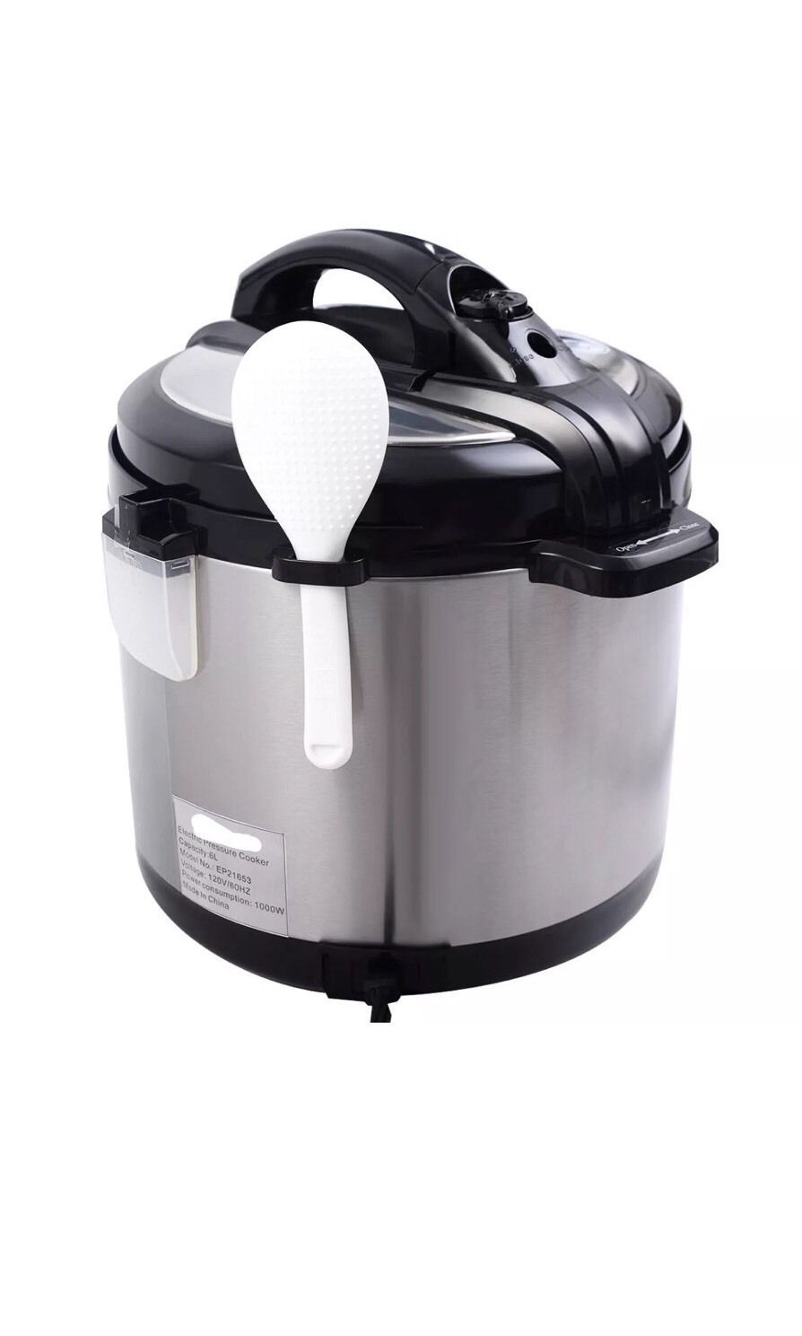 1000 Watt 6-Quart Electric Pressure Cooker Brushed Stainless Steel New BLACK