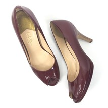 Women Cole Haan Size 6.5B Carma Patent Leather Peep Toe Slip On Pumps Red - $19.62