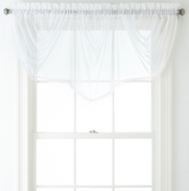 """Home Expressions Lisette Sheer Imperial Beaded Valance 90"""" W X 33 1/2"""" L White  - $21.99"""