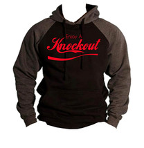 Men's Enjoy a Knockout Black/Charcoal Raglan Hoodie MMA Fighter BJJ Gym ... - $26.99+