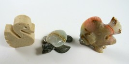 Mixed Lot of 3 Vintage Collectible Carved Stone Miniatures, Turtle, Duck... - £12.98 GBP