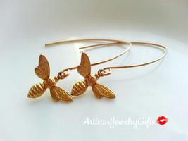 Gold Bee Earrings Dangle Earrings Bee Earrings Woodland Earrings Gold Be... - $30.00