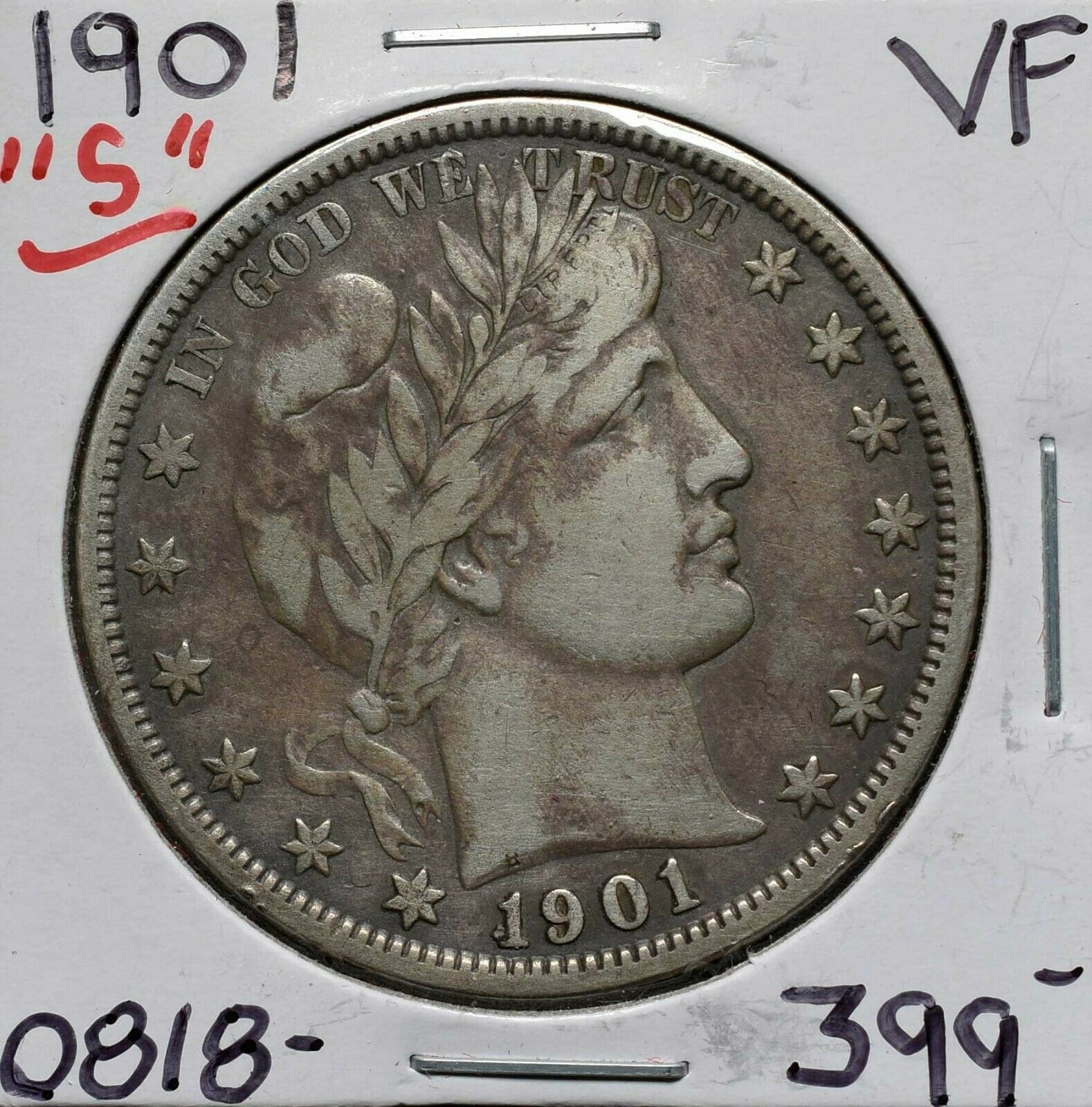1901S Silver Barber Half Dollar 50¢ Coin Lot# A 613