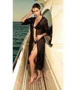 Mapale Black Sheer Mesh Midi Kimono Beach Swimsuit Cover Up 7916 - $41.99