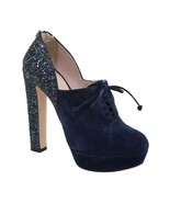 MIU MIU Ankle Boot Platform Pump Blue Navy Suede Leather Lace-Up Heel 40.5 - $166.25