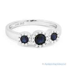 0.73ct Round Cut Sapphire & Diamond Pave Three-Stone Halo Ring in 14k Wh... - €582,02 EUR