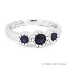 0.73ct Round Cut Sapphire & Diamond Pave Three-Stone Halo Ring in 14k White Gold - €582,12 EUR