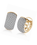 14K Gold CZ Dainty Wide Hoop Earrings Cubic Zirconia Huggie Square Cut - $21.82