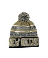 New Orleans Men's Blended Stripe Winter Knit Pom Beanie Hat (Black/Khaki) - $13.75
