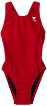 TYR Sport Girl's Solid Maxback Swim Suit Red, 26 - $45.68