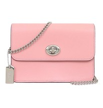 NWT COACH Bowery Crossbody Signature Turnlock Silver Chain Pink Khaki F31384 NEW - $114.84