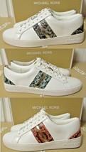 Michael Kors Stripe LACE-UP Nappa Pu Shoes 7.5M - 8.5M New - $155.00