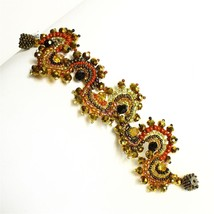 #BR258 Bold Dramatic Sparkly Amber & Crystal Wave 1/2 Moon Bracelet Magnet Clasp - $19.75