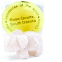 Rose Quartz Gemstone Tiny Miniature Elephant Figurine Hand Carved in China