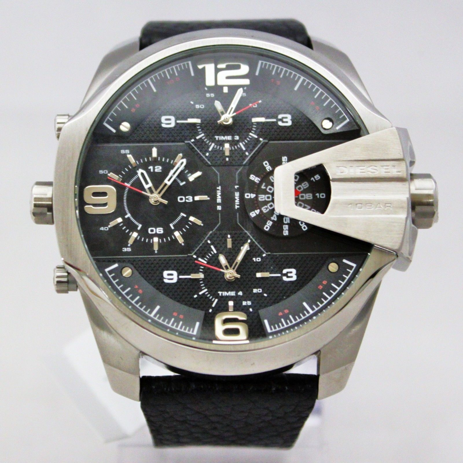 New Diesel DZ7376 Uber Chief Chronograph Iridescent 4-Time Black Band Men Watch