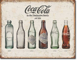 The Evolution of Coca-Cola Bottles Through the Years Coke Metal Sign - $20.95