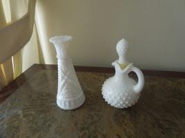 Avon bud vase & cruet, with stopper, milk glass - $5.95