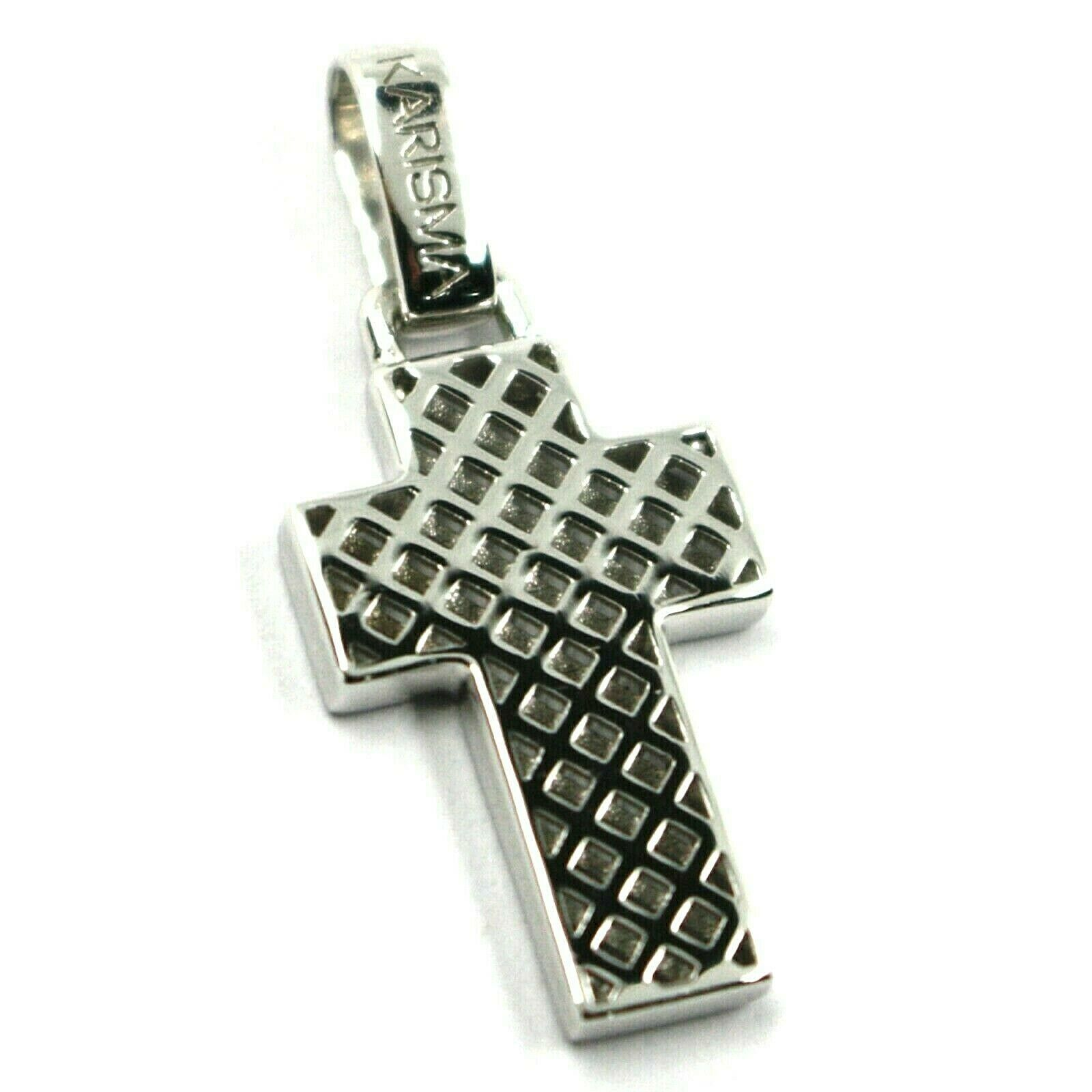 "18K WHITE GOLD SQUARED CROSS PENDANT, STRIPED, CHECKED, PERFORATED 0.9"", 2.2 CM"