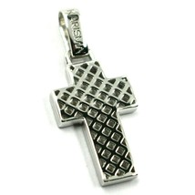 "18K WHITE GOLD SQUARED CROSS PENDANT, STRIPED, CHECKED, PERFORATED 0.9"", 2.2 CM image 1"