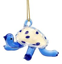 Glass Coastal Blue Sea Turtle Holiday Ornament Glow in the Dark 3 Inch