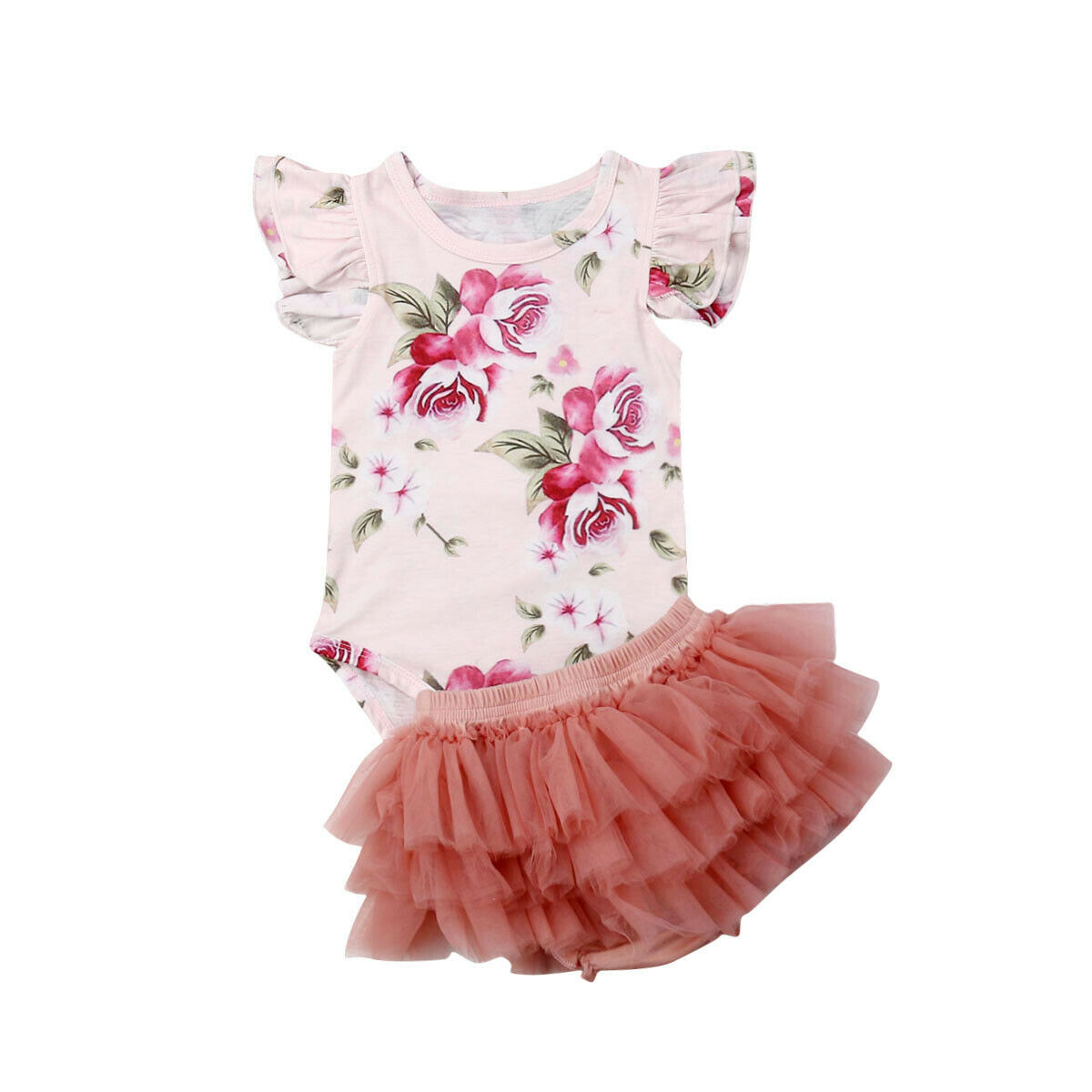 Newborn Baby Girl Floral Romper Tulle Skirts Outfits Cupcake Dress Summer Set To