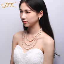 """Fine 6-10mm White Pink Near Round Freshwater Pearl Long Necklace 58"""" - $34.63"""