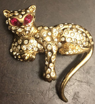 Vintage D'ORLAN Leopard Gold Tone and Rhinestone Brooch - $30.00