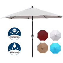 Blissun 9' Patio Umbrella Aluminum Manual Push Button Tilt and Crank Gar... - $54.24