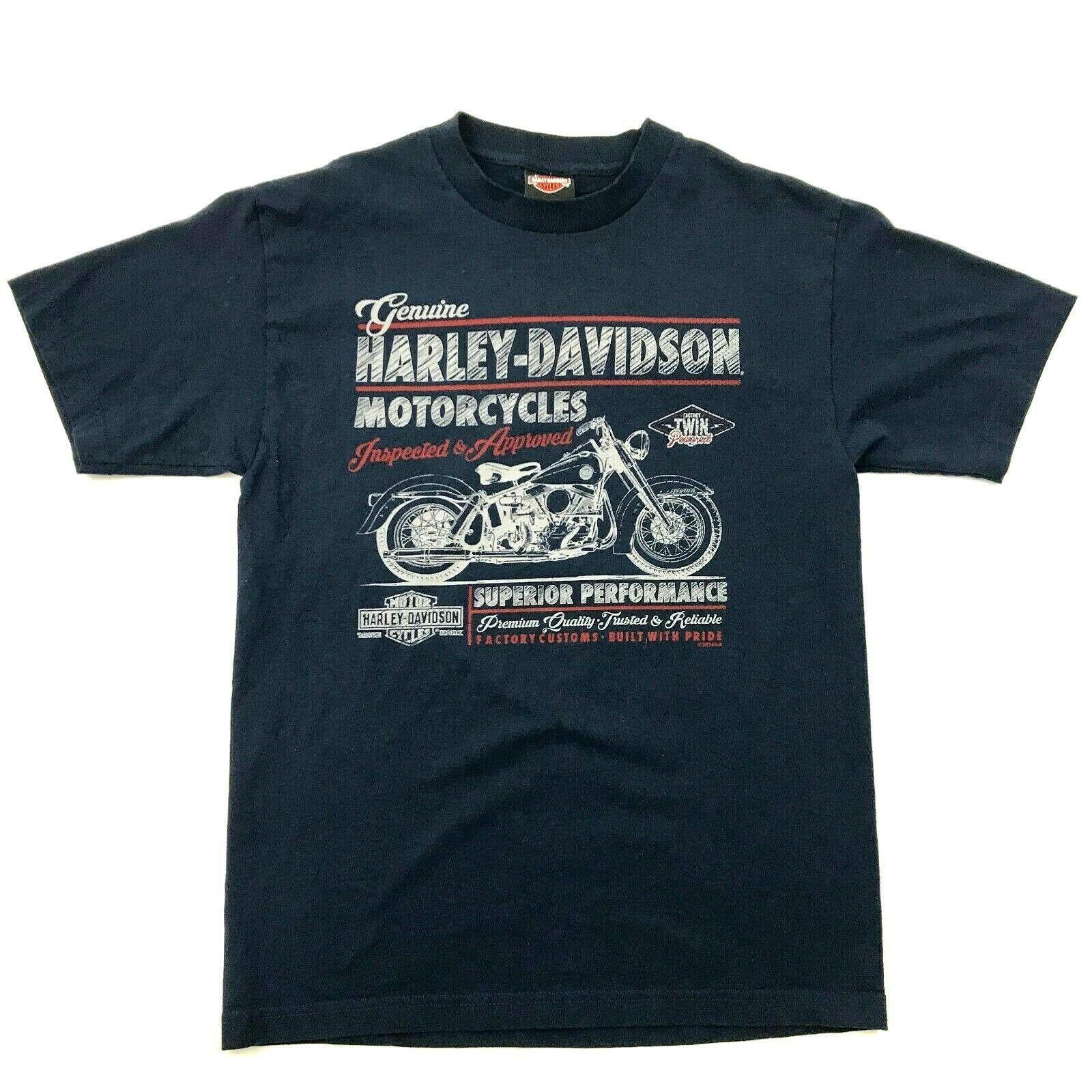 Harley Davidson Imagen Retro Camisa Dos Caras Azul Marino Motero Camiseta TALLA