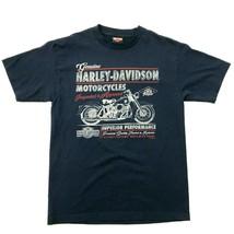 Harley Davidson Imagen Retro Camisa Dos Caras Azul Marino Motero Camiset... - $19.72