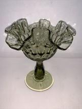 Vintage Fenton Colonial Green Thumbprint Round Compote Double Crimp Edge... - $10.00