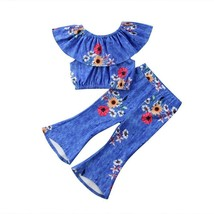 Kids Baby Girl Blue Flower Off Shoulder Loose waist  Top +Floral Bell-Bo... - $12.96+