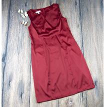 DRESSBARN sz 10 red sleeveless shiny satin sheath dress GUC with flaw (D... - $10.00