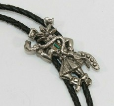 Vintage Silver Toned Indigenous People Bolo Tie Necklace Good Shape - $24.70