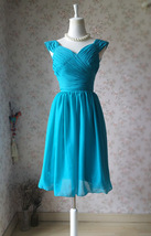 Teal Short Bridesmaid Dresses Prom Dress Teal Color Dresses Sleeveless XXXL NWT image 3