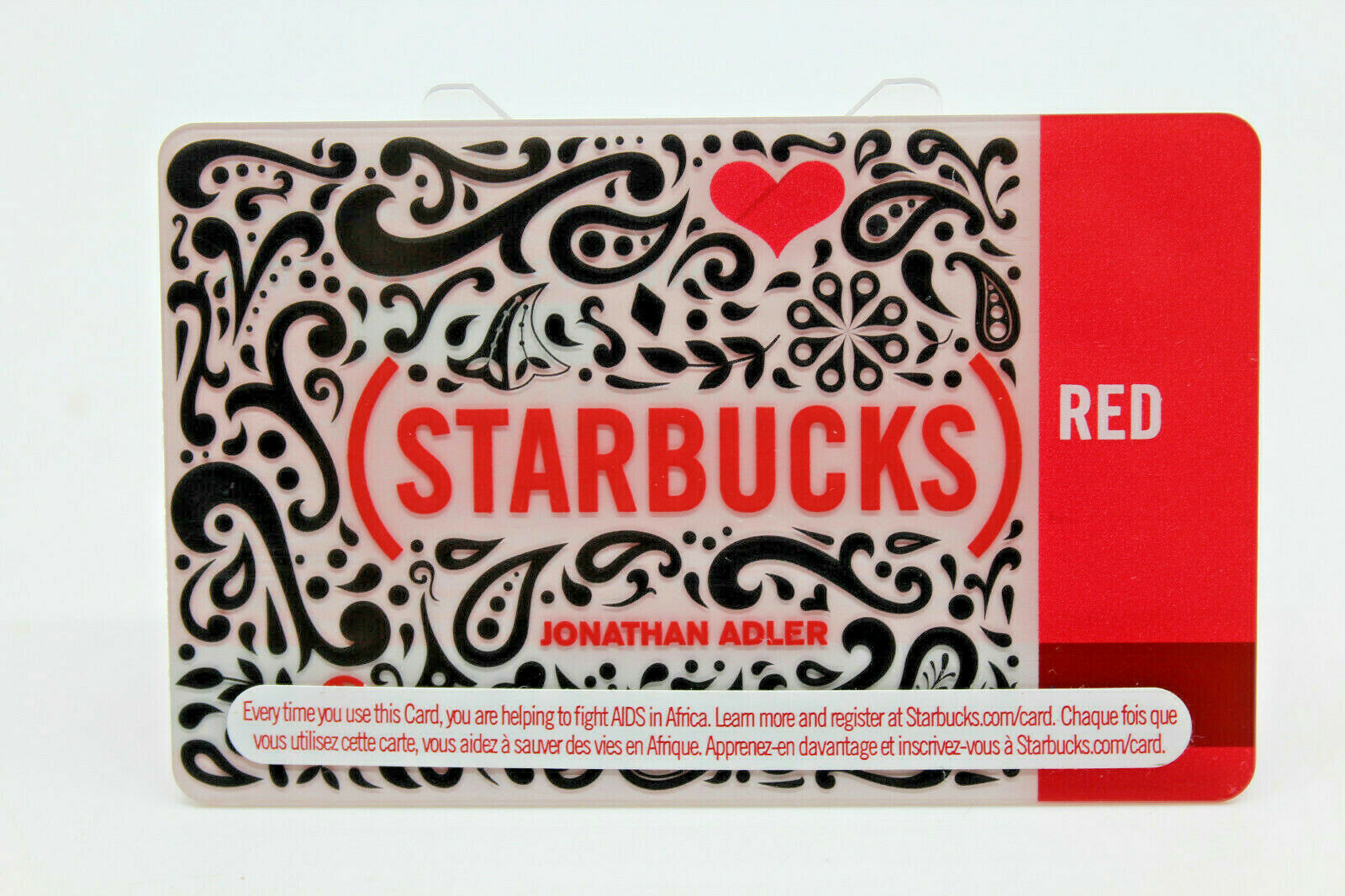 Primary image for Starbucks Coffee 2010 Gift Card Red Jonathan Adler Heart Zero Balance No Value