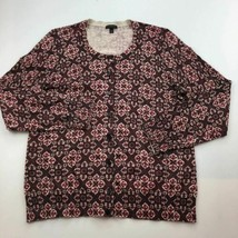 Talbots Cardigan Sweater Womens XL Purple Metallic Damask  B93-02 - $19.28