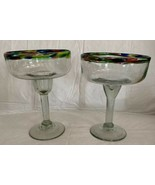 Mexican Hand Blown Glass Multi Colored Rim Graffiti Margarita Cocktail G... - $23.75