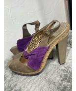 Poetic Licence Ocean View Purple & Tan Slingbacks Chunky High Heels Size... - $23.36