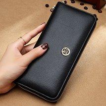 LAORENTOU Women's Genuine Leather Long Wallet Clutch Purse for Women Black image 7