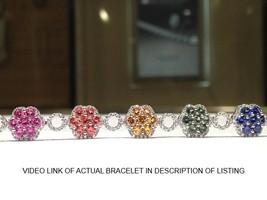 11.00 Carat Rainbow Sapphire Bracelet in 925 Sterling Silver  WATCH VIDEO
