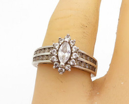 925 Silver - Vintage Cubic Zirconia Solitaire With Accents Ring Sz 6.5 - R17772 - $26.35